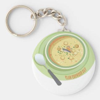 25th February Clam Chowder Day - Appreciation Day Keychain