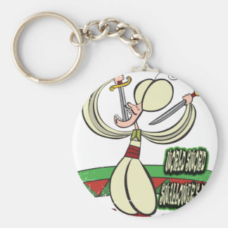 25th February - World Sword Swallower's Day Basic Round Button Keychain