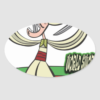 25th February - World Sword Swallower's Day Oval Sticker