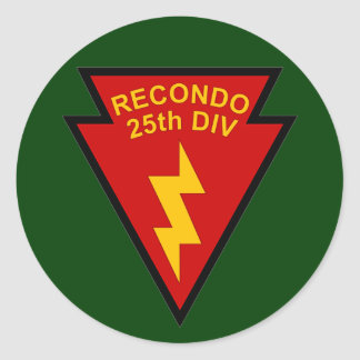 25th Infantry Recondo pocket patch Classic Round Sticker