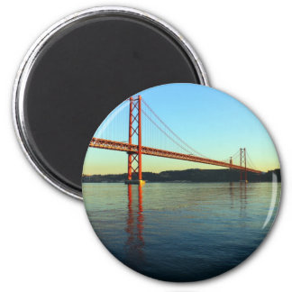 25th of April Bridge and the Tagus River, Lisbon 2 Inch Round Magnet