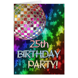 25th party with disco ball and rainbow of stars card