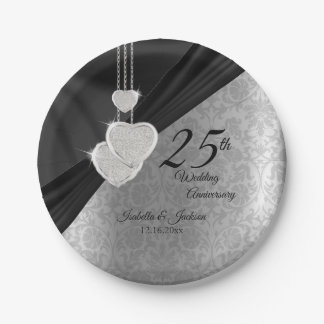 25th Silver and Black Wedding Anniversary Paper Plate