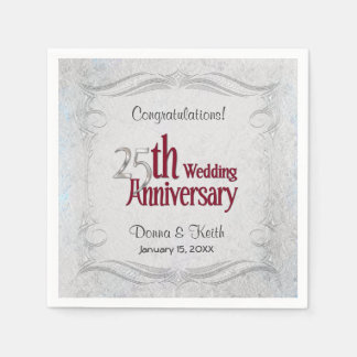 25th Silver and Burgundy Anniversary  - Customize Paper Napkin