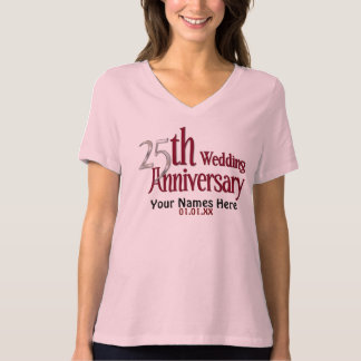 25th Silver and Burgundy Anniversary Tee Shirt