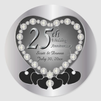 25th Silver Anniversary Classic Round Sticker