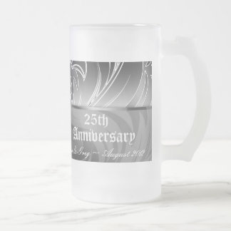 25th Silver Anniversary Floral Beer Stein Mug
