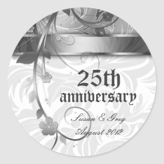 25th Silver Anniversary Floral Classic Round Sticker