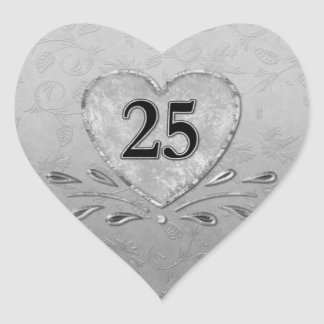25th Silver  Anniversary Heart Heart Sticker