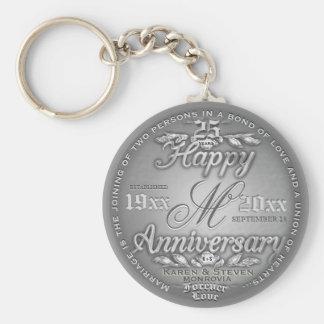25th Silver Anniversary Monogram Basic Round Button Keychain