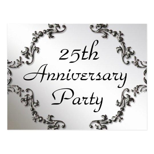 25th Silver Anniversary Party Invitation Postcards