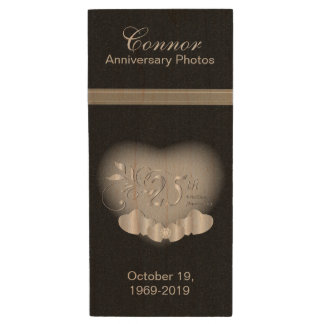 25th Silver Anniversary Photos Wood USB 2.0 Flash Drive