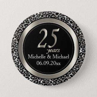 25th Silver Leopard Wedding Anniversary 3 Inch Round Button