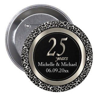 25th Silver Leopard Wedding Anniversary 3 Inch Round Button