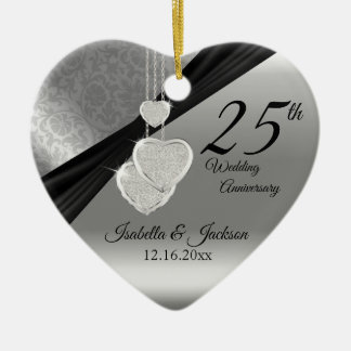 25th Silver Photo Wedding Anniversary with Photo Ceramic Ornament