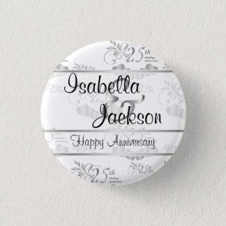 25th Silver Wedding Anniversary 1 Inch Round Button