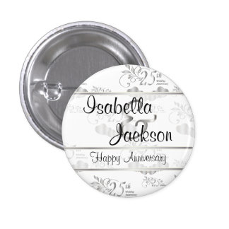 25th Silver Wedding Anniversary 1 Inch Round Button