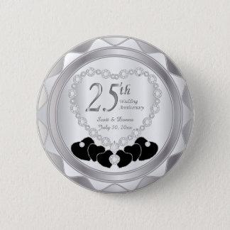 25th Silver Wedding Anniversary 2 Inch Round Button