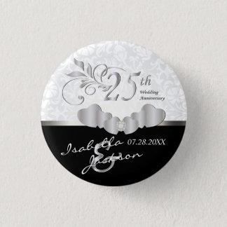 25th Silver Wedding Anniversary Design 1 Inch Round Button