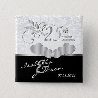 25th Silver Wedding Anniversary Design 2 Inch Square Button