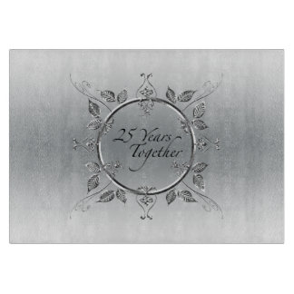 25th Silver Wedding Anniversary | Elegant 25 Years Cutting Board