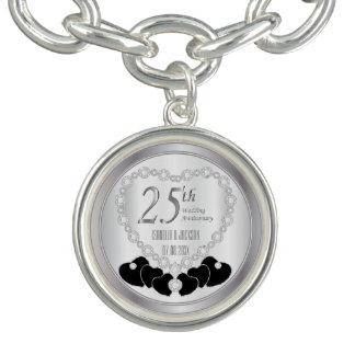 25th Silver Wedding Anniversary Heart Keepsake Charm Bracelets