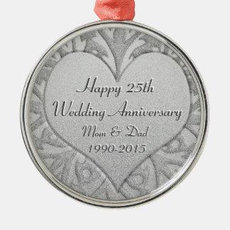 25th Silver Wedding Anniversary Heart Silver-Colored Round Ornament