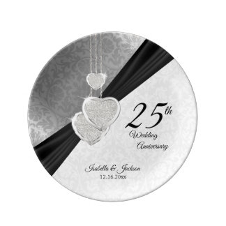 25th Silver Wedding Anniversary  Keepsake Plate