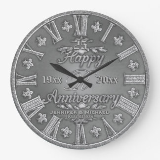 25th Silver Wedding Anniversary Large Clock