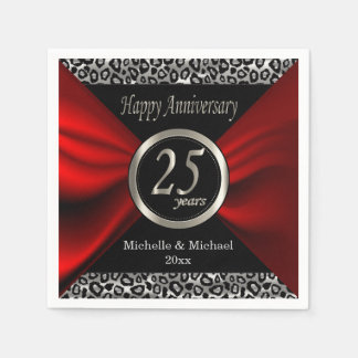 25th Silver Wedding Anniversary | Leopard Pattern Disposable Napkin