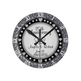 25th Silver Wedding Anniversary Monogram Wall Clocks