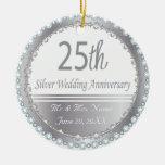 25th Silver Wedding Anniversary Ornament Christmas Tree Ornaments