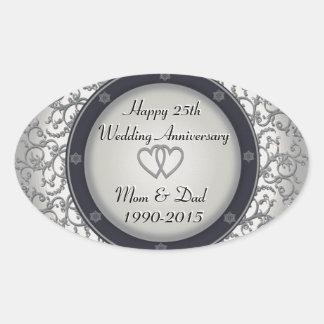 25th Silver Wedding Anniversary Oval Sticker