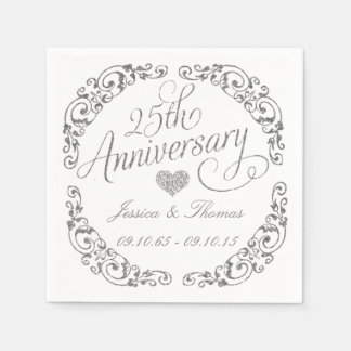 25th Silver Wedding Anniversary Paper Napkins