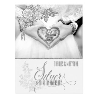 25th Silver Wedding Anniversary Personalized Postcard
