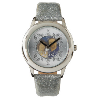 25th Silver Wedding Anniversary Photo Personalized Watch