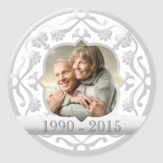 25th silver wedding anniversary photo stickers. classic round sticker