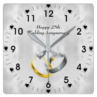 25th Silver Wedding Anniversary Rings Square Wall Clock