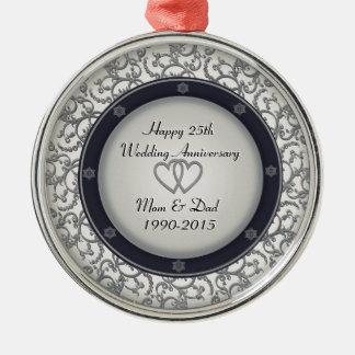 25th Silver Wedding Anniversary Silver-Colored Round Ornament