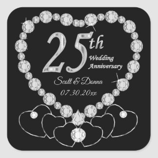 25th Silver Wedding Anniversary Square Sticker