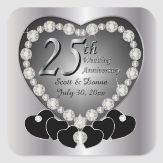 25th Silver Wedding Anniversary Square Sticker