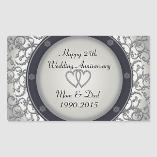 25th Silver Wedding Anniversary Sticker