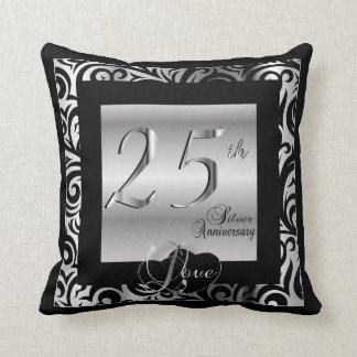 25th Silver Wedding Anniversary Throw Pillow