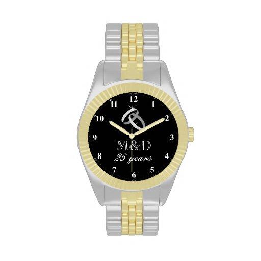 Wedding Gift For Husband Watch : 25th Silver wedding anniversary watch for husband Zazzle