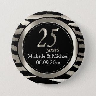 25th Silver Zebra Stripe Wedding Anniversary 3 Inch Round Button