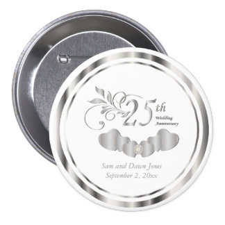 25th Simple Silver Wedding Anniversary 3 Inch Round Button