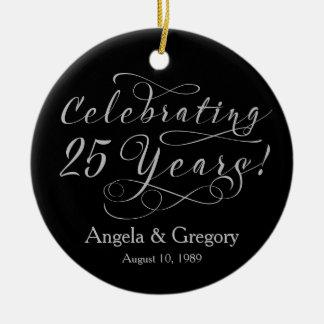 25th Wedding Anniversary 25 Silver Black Round Ceramic Ornament