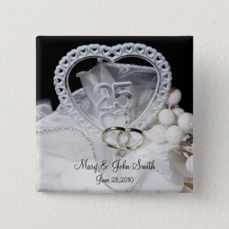 25th Wedding Anniversary 2 Inch Square Button
