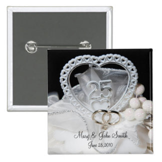 25th Wedding Anniversary 2 Inch Square Button