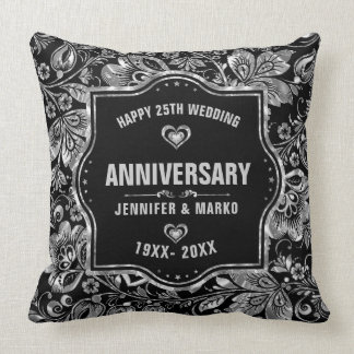 25th Wedding Anniversary Black And Silver Design Throw Pillow